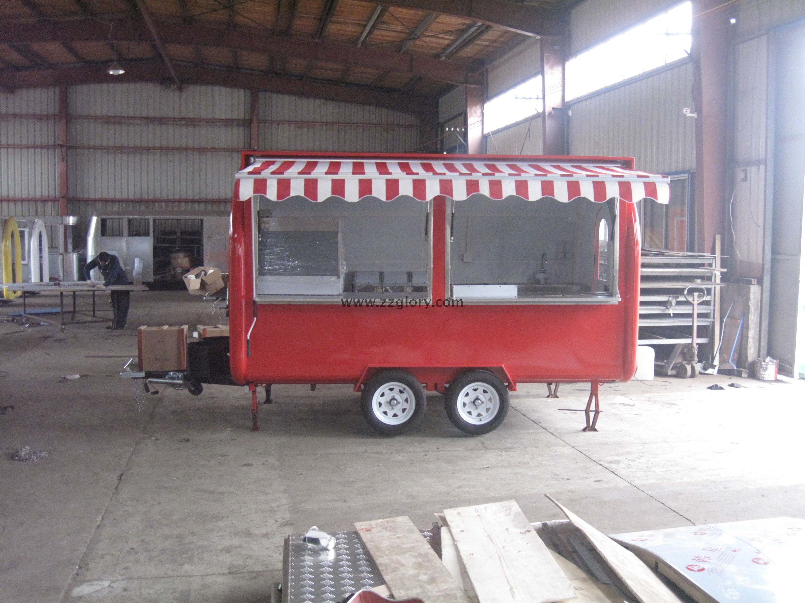 With Canopy Red Color 2 Sales Windows Mobile Food Vending Cart For Sale