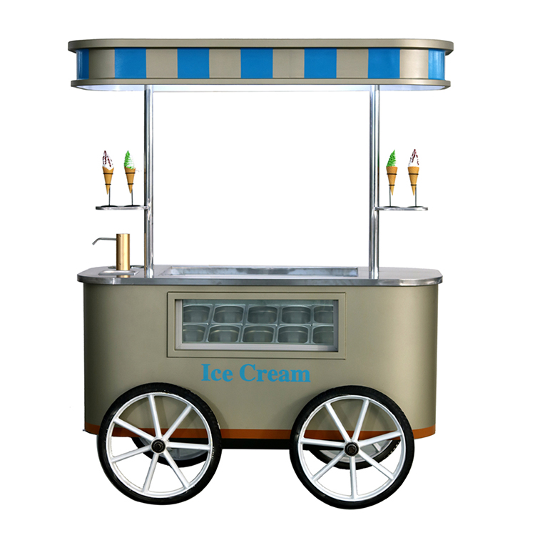 Multifunctional mobile push Popsicle Freezers Ice Cream vending cart for sale