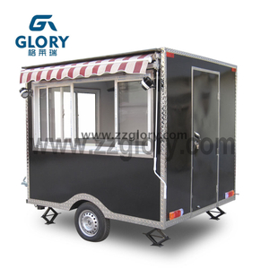 With Canopy Donut Black Color Square Shape Mobile Kitchen Fast Food Trailer