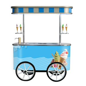 Outdoor Usage Mobile Push Ice Cream Car Popsicle Showcase Cart