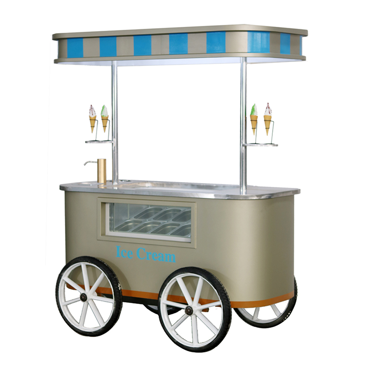 Street Mobile Push Hand Type Ice Cream Cart